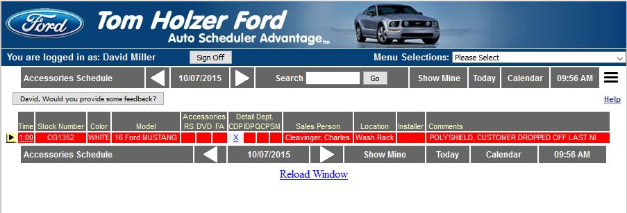 car dealer accessories scheduling